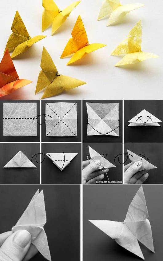 DIY Dekoration als hochzeitsdeko und Wanddeko mit gelben Origami-schmetterlingen