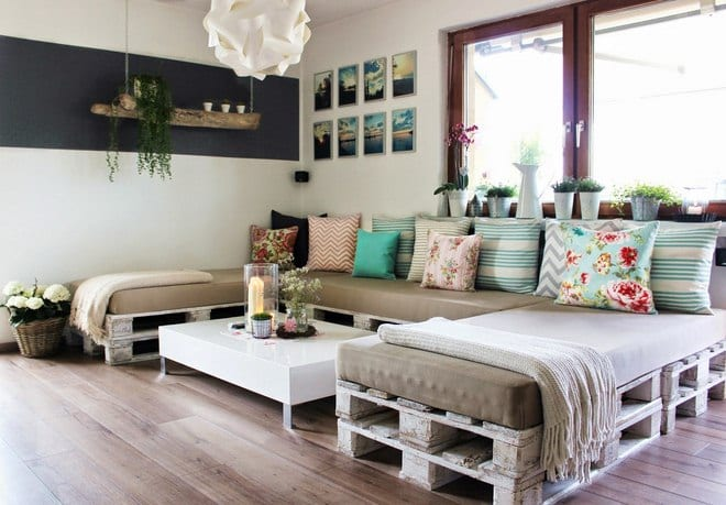 Moderne Wohnzimmer Und Einrichtungstipps Mit Möbel Aus Paletten Und Diy  Hängeblumentopf Aus Holz