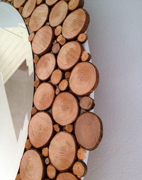 Holz wanddeko mit designer spiegel mit holzrahmen