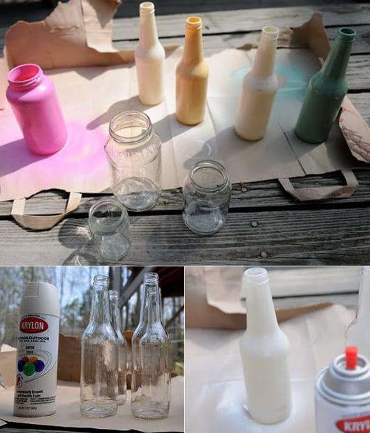selbstgemachte Blumenvase aus Glas und Sprayfarben als bastelidee für DIY Dekoration