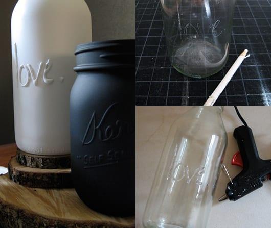 kreative bastelidee für Blumenvasen selber zu basteln aus Glas mit DIY Schriftzug aus heißkleber