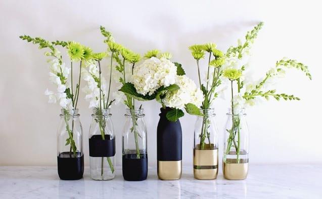 coole DIY Dekoration mit Glasvasen aus Glasflaschen zum Selbermachen