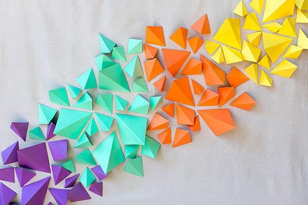 wandgestaltung mit farbe als coole dekoideen wohnzimmer mit DIY Deko aus Papier