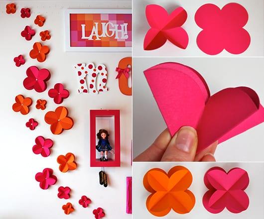 wandgestaltung kinderzimmer mädchen mit deko aus papier in orange und pink