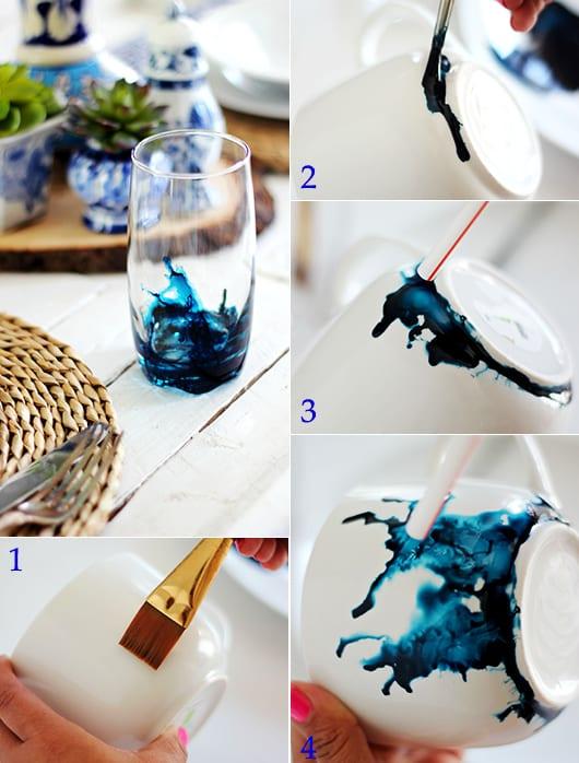 basteln mit tinte als bastelidee für DIY -Watercolor-Glas