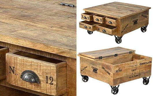 modernes wohnzimmer und wohnzimmer design mit vintage möbeln aus massivholz_couchtisch holz als rustikale einrichtungsidee
