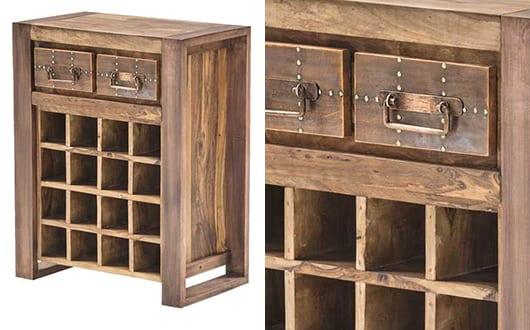 eirichtungsideen für idustrial style loft mit vintage weinregal aus holz mit schubladen und flaschenfächern aus massivholz