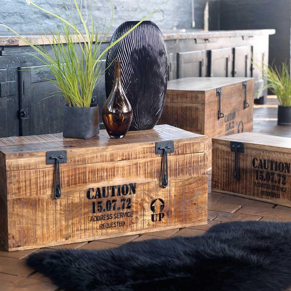einrichtungsidee wohnzimmer mit fell teppich schwarz und kreative beistelltisch aus holzkiste mit vasen dekoration und sideboard aus holz in schwarz_möbel online kaufen
