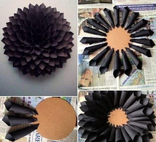 kreative wandgestaltung mit diy papierblume schwarz