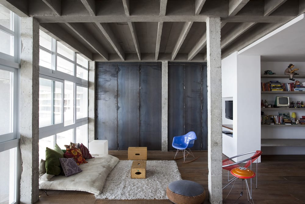 bauen mit beton als inspiration für moderne Loft Wohnung und modernes Wohnzimmer design mit minimalistischen Interior