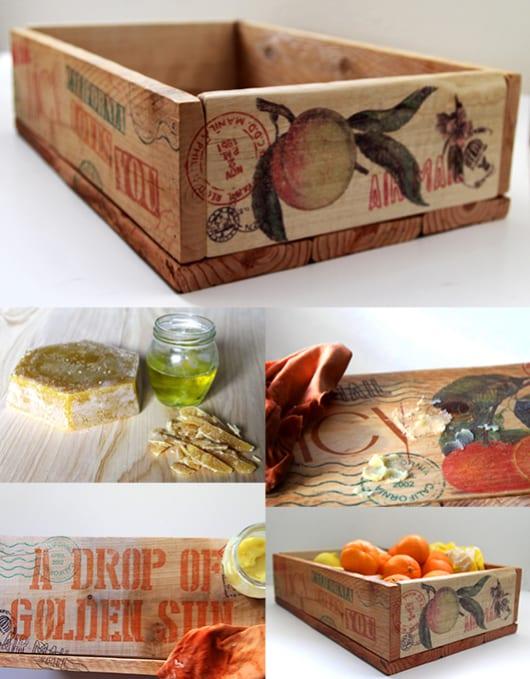 DIY Fruchtschalle aus paletten mit druck auf holz deko