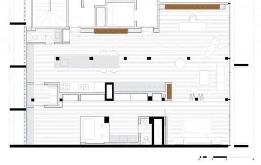 modernes appartement als offene Loft Wohnung mit modernem Interior Design in Holz und Beton