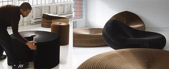 einrichtungsideen mit runden hockern und lounge stühlen aus kraftkarton in schwarz und braun