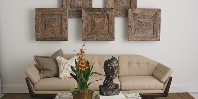 Designklassiker Fr Elegantes Wohnzimmer Design Mit Sofa Beige Und Kreative Wandgestaltung Holz