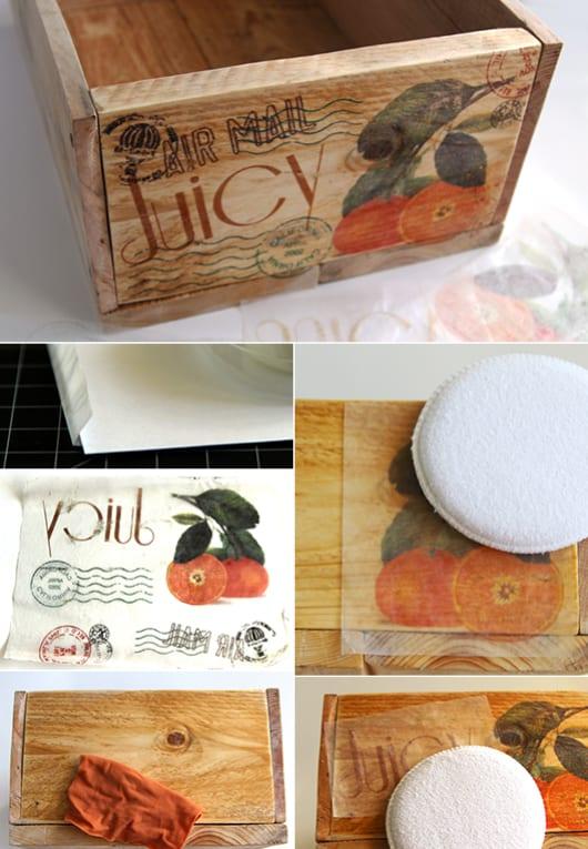 DIY Kiste aus paletten mit Holz deko idee durch Druck von bildern auf holz