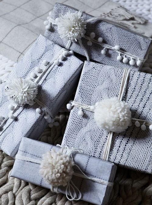 geschenkverpackung selber machen aus alten pulovern zum weihnachten