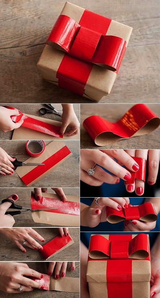 Geschenke verpacken mit schleife aus klebeband