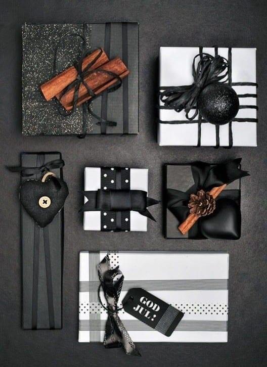 geschenke schön verpacken in schwarz und weiß