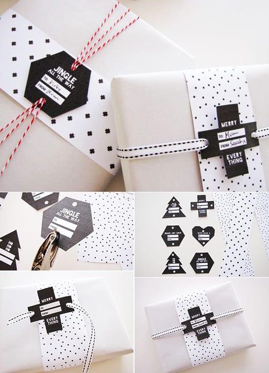 geschenk kreativ verpacken in schwarzweiß