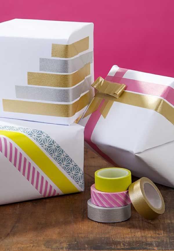geschenk kreativ verpacken mit farbigen klebebändern