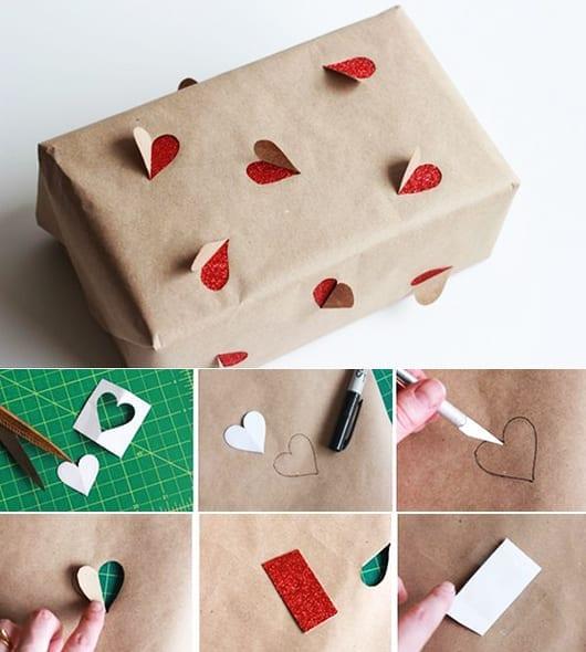 geschenk lustig verpacken mit herz muster