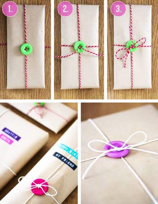 geschenk schön verpacken mit faden und knöpfen