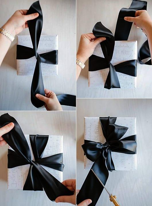 schwarze Schleifen für weiße geschenkverpackungen