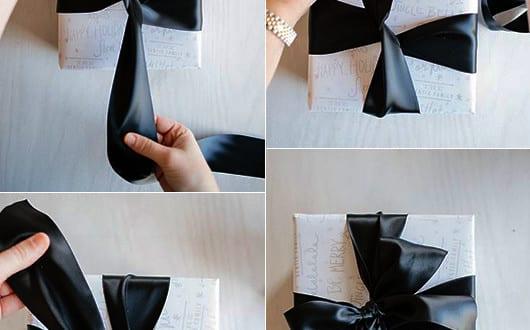geschenkverpackung basteln und geschenk sch n verpacken mit schwarzer schleife freshouse. Black Bedroom Furniture Sets. Home Design Ideas