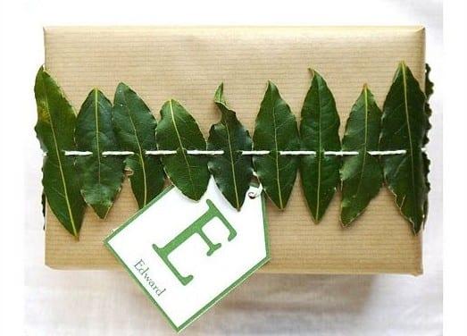 grüne blätter für kreative geschenkverpackung