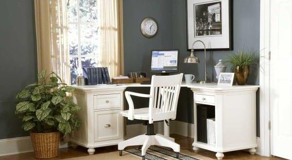 Eckschreibtisch holz  home office mit eckschreibtisch weiss aus holz - fresHouse
