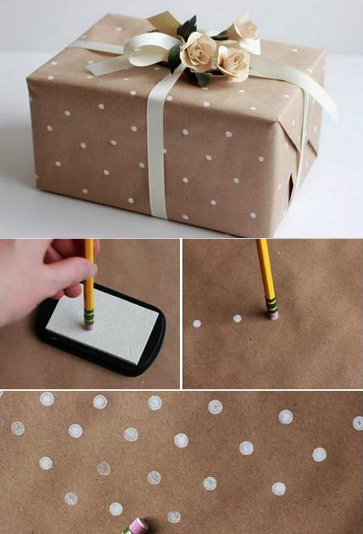 geschenkpapier mit weißen punkten selber gestalten und geschenke schön verpacken