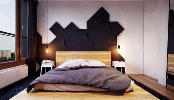 kreative wohnideen schlafzimmer f r moderne wandgestaltung mit 3d paneeln schwarz und coole. Black Bedroom Furniture Sets. Home Design Ideas
