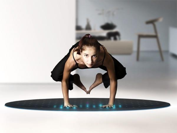 runder teppich schwarz mit integrierten sensoren als moderne Fitnessmatte für zuhause