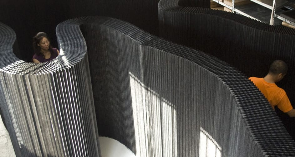 trennwände schwarz und kreative raumteiler ideen für moderne raumtrennung mit kartonpapier