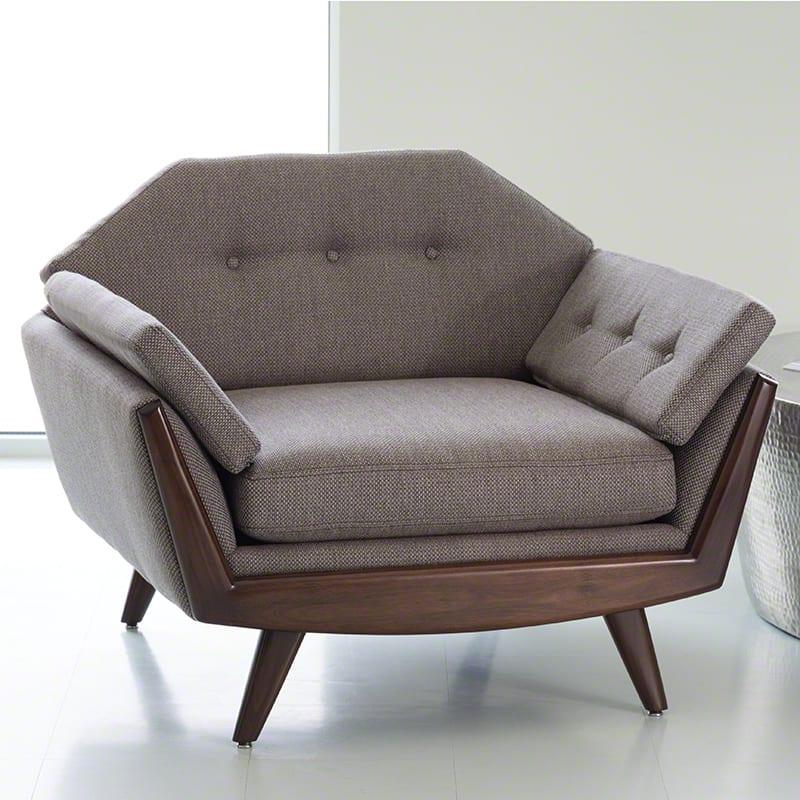 greta lounge sessel grau mit polsterkissen und holzbeinen