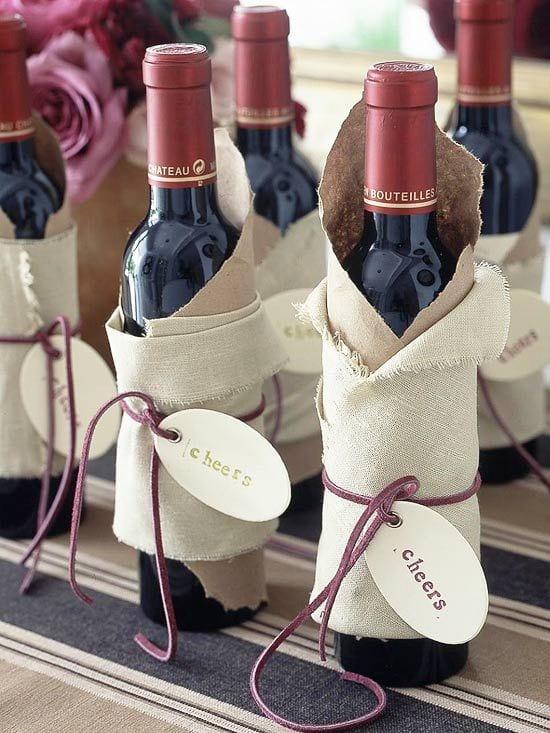 geschenk verpacken ideen für weinflaschen