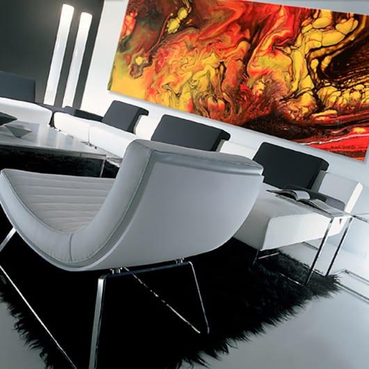 wohnzimmer wandgestaltung mit farbe_wohnzimmer design in schwarzweiß mit modernen Seats and sofas aus leder und Vinyl-bodenbelag weiß