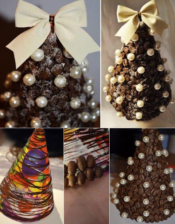 weihnachtsbaum aus kaffeebohnen selber basteln