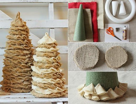 basteln mit sackleinen zum weihnachtlich dekorieren vom tisch und sideboard