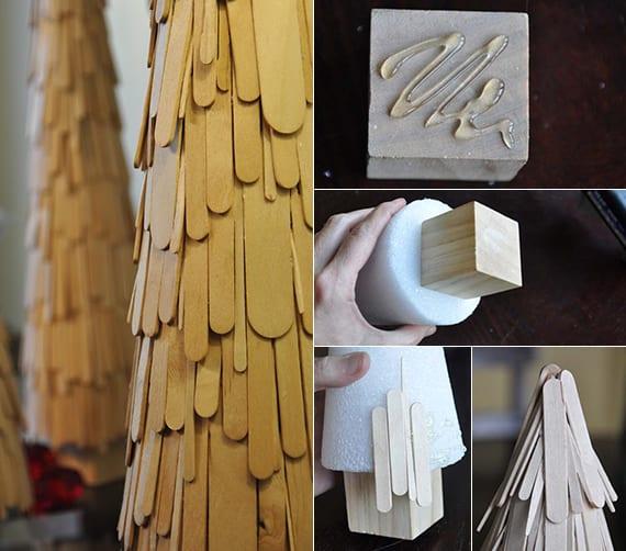 weihnachtlich dekorieren mit dekorativen weihnachtbäume aus holzstäbchen