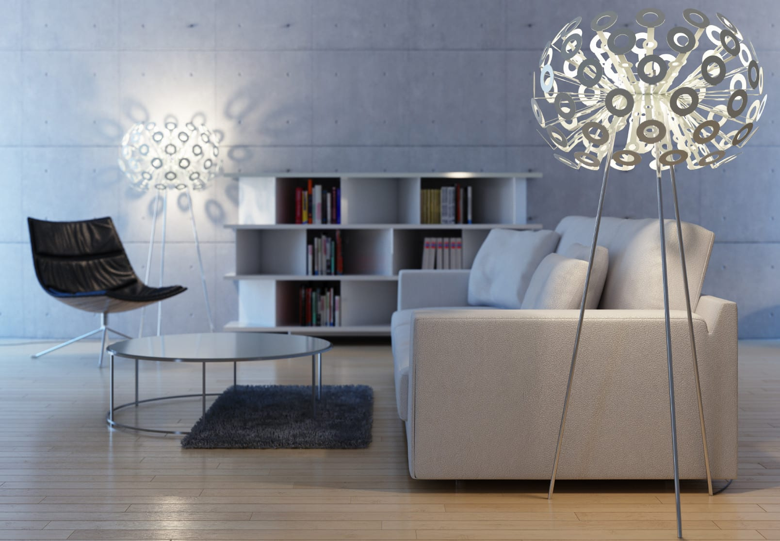 wohnzimmer ideen für modernes wohnzimmer design mit sofa weiß und rundem couchtisch glas und indirekte beleuchtung wohnzimmer mit stehleuchten