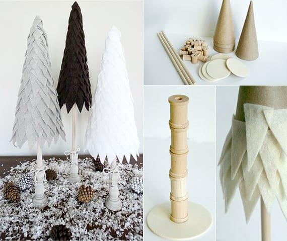 kreative dekoideen weihnachten mit diy-weihnachtsbaum aus filz