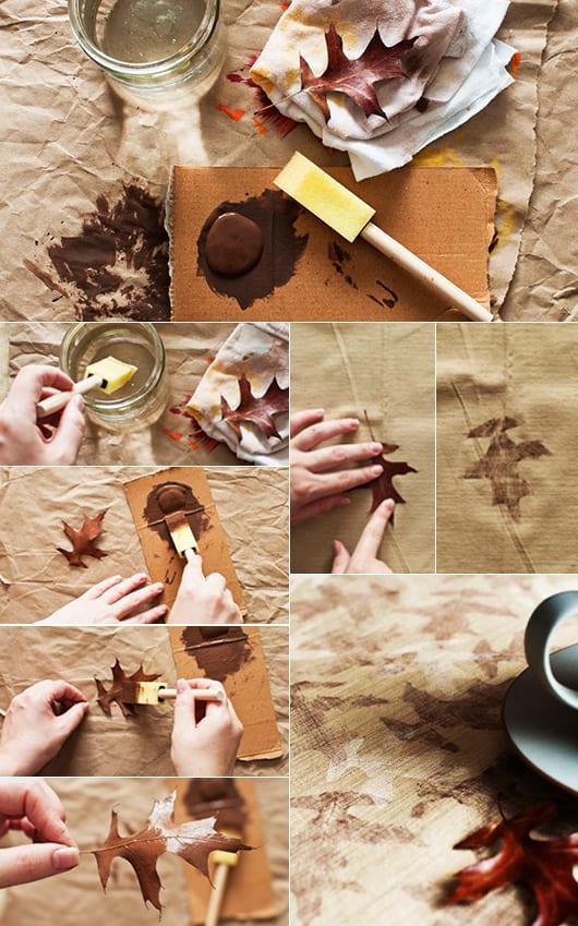 interessante und coole bastelideen mit bäume blättern und tischdecke mit blätter abrück als coole herbstdeko idee