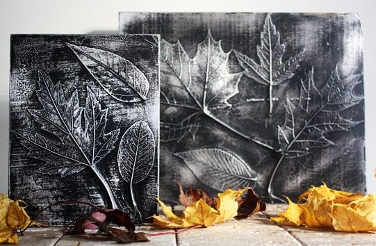 kreative bastelidee und herbstdeko selber machen mit Blättern und Alufolie