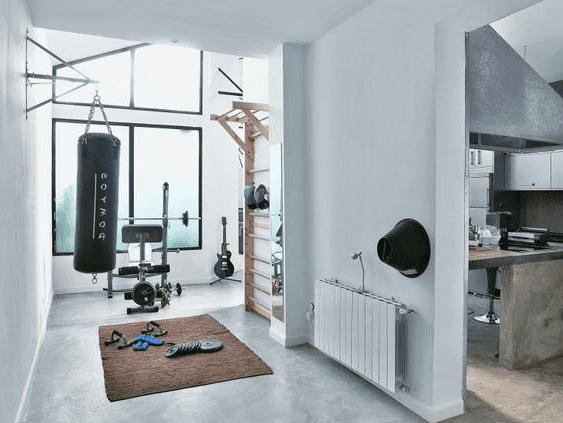 ideen heim fitnessstudio einrichten m belideen. Black Bedroom Furniture Sets. Home Design Ideas