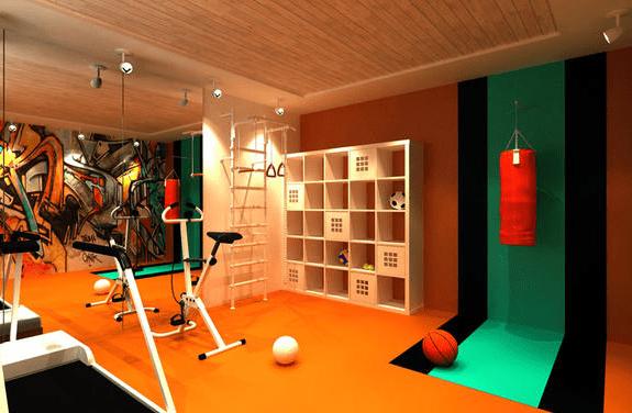 fitnessstudio zu hause einrichten mit Ikea Regal weiß und vinyl bodenbelag gelb
