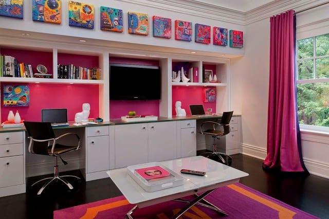 Kinderzimmergestaltung In Weiß Und Pink Für Zwei Mädchen Mit Zwei  Schreibtischen