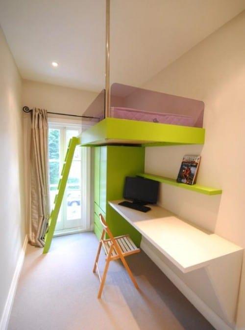 teenager zimmer mit büroschreibtisch weiß und idee für kleines kinderzimmer einrichtung mit hochbett grün