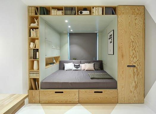 idee für kleines schlafzimmer und funktionale Einrichtung mit Bett und Schränke