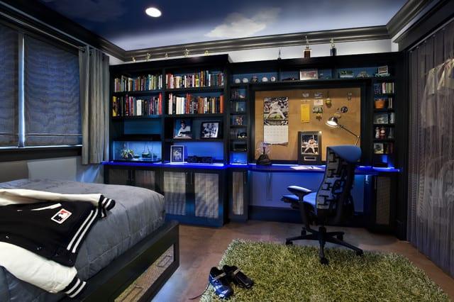 coole kinderzimmergestaltung für Jugendzimmer Jungs mit wandfarbe blau und himmel-deckengestaltung